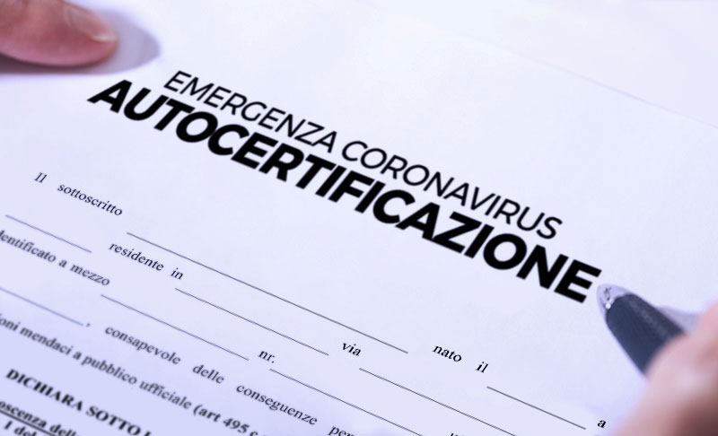 Autocertificazione per gli spostamenti in tutta Italia